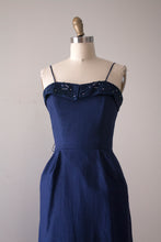 Load image into Gallery viewer, SALE vintage 1950s Jerry Gilden blue linen dress