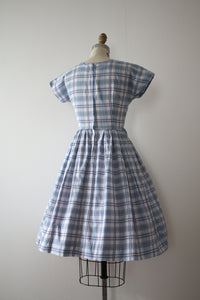 vintage 1950s blue cotton dress