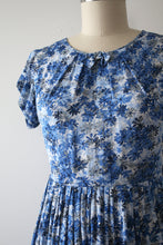 Load image into Gallery viewer, vintage 1950s blue floral rayon dress