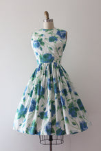 Load image into Gallery viewer, vintage 1960s blue rose print dress