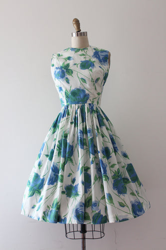 vintage 1960s blue rose print dress