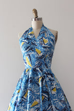 Load image into Gallery viewer, vintage 1950s blue cotton nautical sun dress