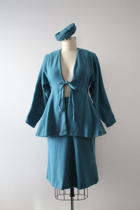 vintage 1940s blue wool skirt set with hat