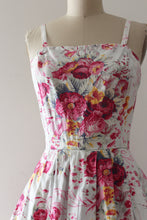 Load image into Gallery viewer, vintage 1950s floral sun dress