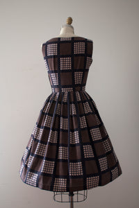 CLEARANCE vintage 1960s brown houndstooth dress