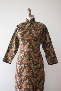 vintage 1940s bronze brocade Cheongsam dress