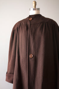 vintage 1930s 40s brown wool coat