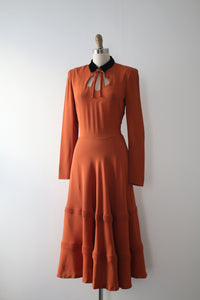 vintage 1940s orange crepe dress