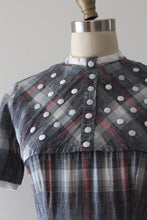 Load image into Gallery viewer, vintage 1950s Trudy Hall plaid novelty dress
