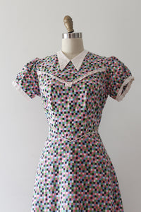 vintage 1930s colorful cotton day dress