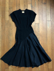 vintage 1940s black evening dress