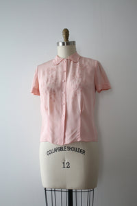 vintage 1940s pink rayon blouse