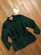 Load image into Gallery viewer, vintage 1940s green suede leather jacket