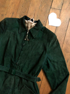 vintage 1940s green suede leather jacket