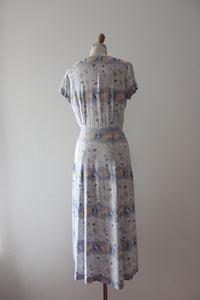 vintage 1940s floral rayon dress