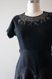vintage 1950s black rayon dress