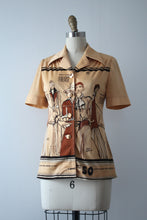 Load image into Gallery viewer, vintage 1970s novelty Fashion Illustration blouse