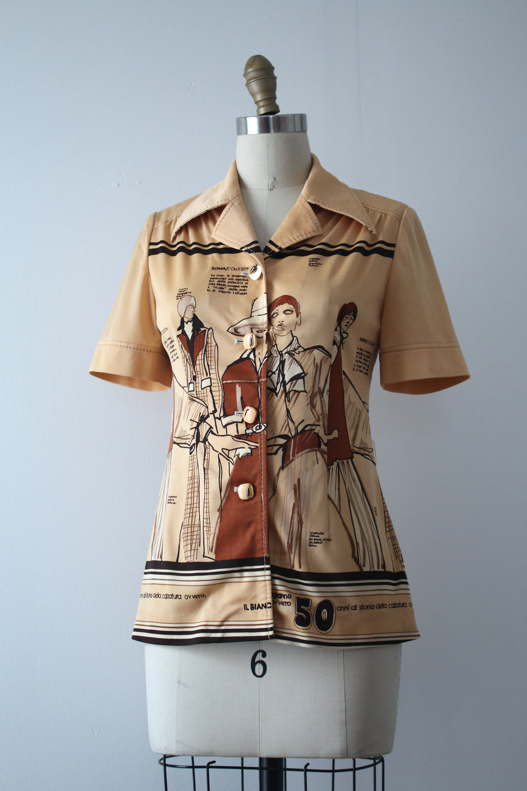 vintage 1970s novelty Fashion Illustration blouse