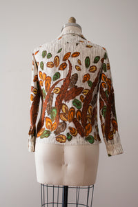 CLEARANCE vintage 1960s novelty feather blouse