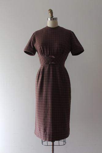 CLEARANCE vintage 1950s 60s gingham wool dress