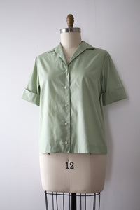 vintage 1950s green blouse