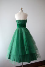 Load image into Gallery viewer, vintage 1950s green party dress