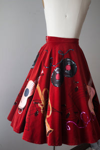 vintage 1950s style musical circle skirt