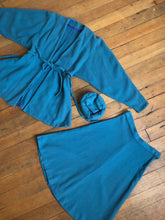 Load image into Gallery viewer, vintage 1940s blue wool skirt set with hat