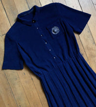 Load image into Gallery viewer, vintage 1940s blue knit dress