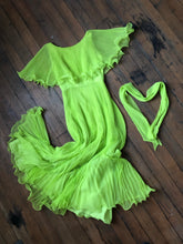 Load image into Gallery viewer, vintage 1970s acid green chiffon maxi dress