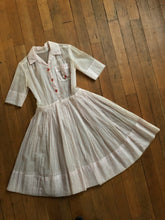 Load image into Gallery viewer, vintage 1950s sheer polka dot dress