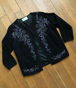 vintage 1960s beaded cardigan sweater