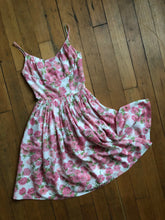 Load image into Gallery viewer, vintage 1950s Jerry Gilden pink floral sun dress