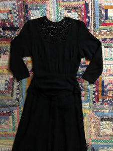 vintage 1930s 40s black evening dress