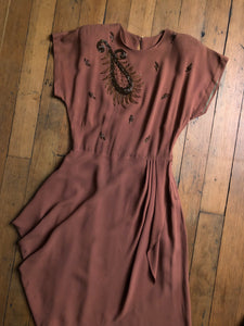 vintage 1940s beaded rayon dress