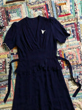 Load image into Gallery viewer, vintage 1930s navy rayon dress