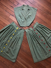 Load image into Gallery viewer, vintage 1940s green cotton skirt set