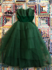 vintage 1950s green party dress