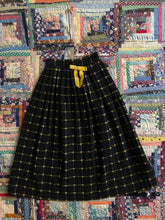 Load image into Gallery viewer, vintage 1950s black wool and yellow skirt