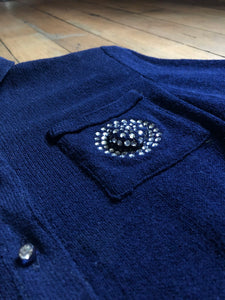 vintage 1940s blue knit dress