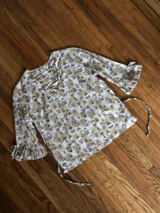 NOS vintage 1960s blouse BROWN