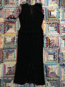 vintage 1950s Gene Shelly beaded knit dress