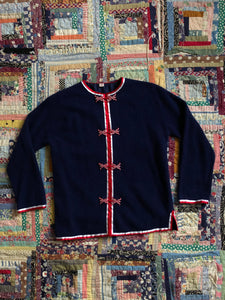 vintage 1960s navy cardigan sweater