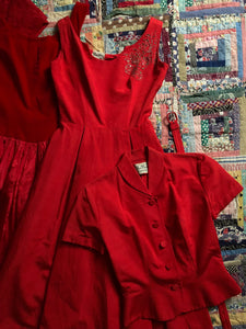 vintage 1950s Doris Dodson red dress set