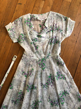 Load image into Gallery viewer, vintage 1950s sheer floral dress