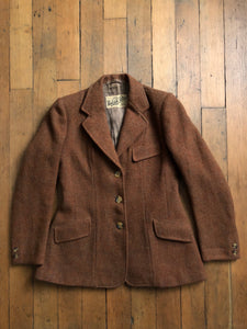 vintage 1940s burnt orange Harris Tweed jacket