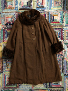 vintage 1940s brown wool coat