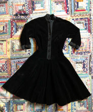 Load image into Gallery viewer, vintage 1950s black velvet party dress