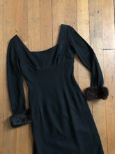 Load image into Gallery viewer, vintage 1950s black wool wiggle dress