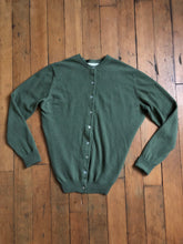 Load image into Gallery viewer, vintage 1960s green cashmere cardigan sweater